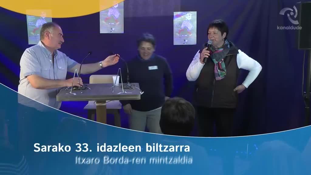 Sarako 33. idazleen biltzarra: Itxaro Borda-ren mintzaldia